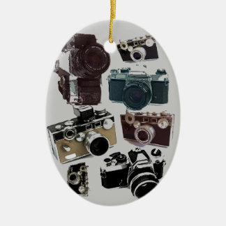 Grunge photographer photography Vintage Camera Ceramic Oval Decoration