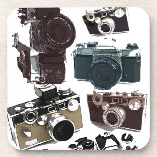 Grunge photographer photography Vintage Camera Coaster