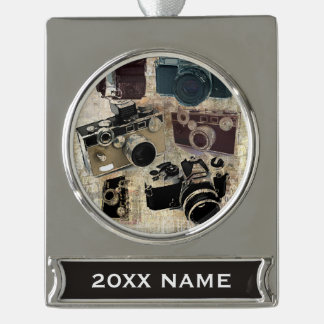 Grunge photographer photography Vintage Camera Silver Plated Banner Ornament