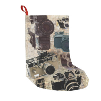 Grunge photographer photography Vintage Camera Small Christmas Stocking