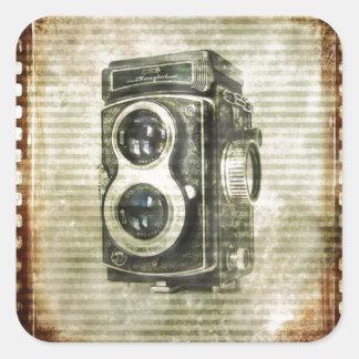 Grunge photographer photography Vintage Camera Square Sticker