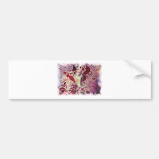 Grunge pink bikini girl on floral background bumper sticker