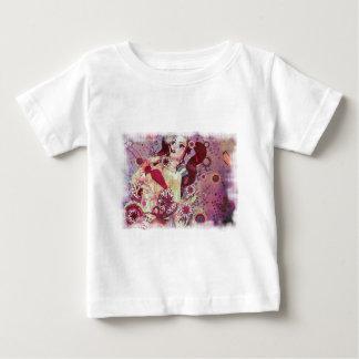 Grunge pink bikini girl on floral background t-shirt