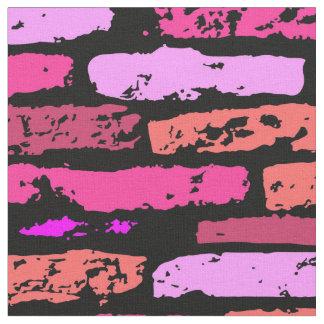 Grunge Pink Bricks Fabric