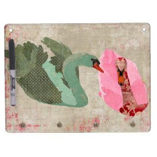 Grunge Pink & Olive Swans Dry Erase Board