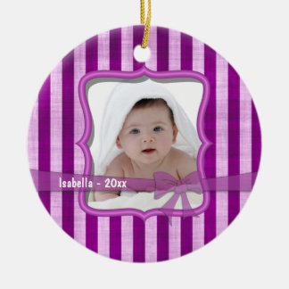 Grunge Pink Stripes Dated Keepsake Photo Ornament