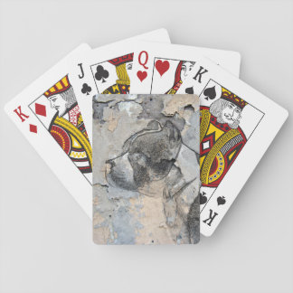 Grunge Pitbull terrier Playing Cards