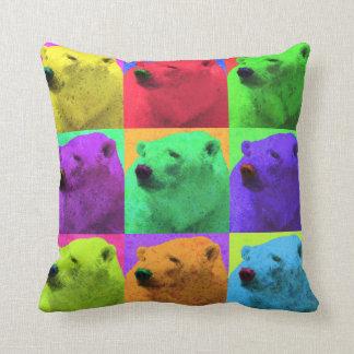 Grunge Pop Art Popart Polar Bear Closeup Colorful Cushion