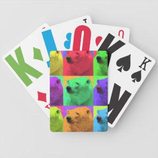 Grunge Pop Art Popart Polar Bear Closeup Colorful Poker Deck