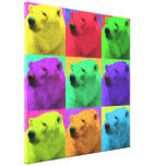 Grunge Pop Art Popart Polar Bear Closeup Colourful Canvas Prints