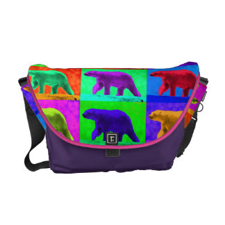 Grunge Pop Art Popart Polar Bear Multi-Panel Commuter Bags