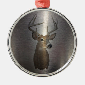 Grunge Primitive buck white tail deer Silver-Colored Round Decoration