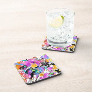GRUNGE PUNK SPLATTER ART BEVERAGE COASTERS