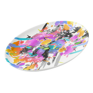 GRUNGE PUNK SPLATTER ART PORCELAIN SERVING PLATTER