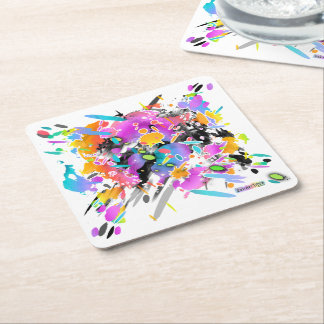 GRUNGE PUNK SPLATTER ART SQUARE PAPER COASTER