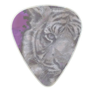 Grunge Purple Abstract Tiger Pearl Celluloid Guitar Pick