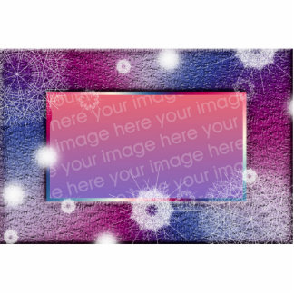 Grunge Purple and Blue snowflake picture frame Photo Sculpture Decoration