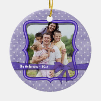 Grunge Purple Polka Dots Keepsake Photo Ornament