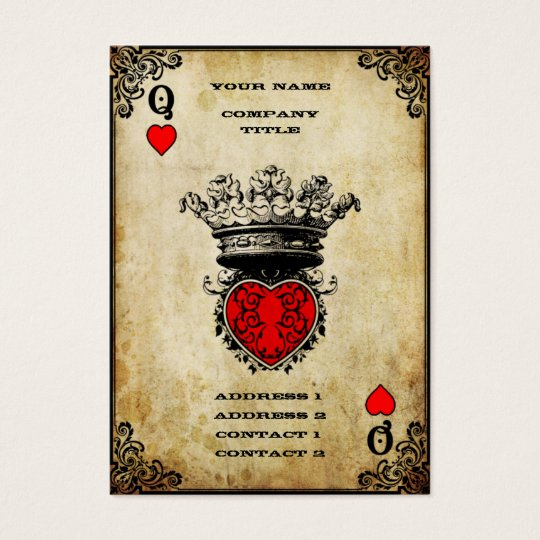 Grunge Queen Of Hearts Business Card