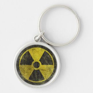 Grunge Radioactive Symbol Silver-Colored Round Key Ring