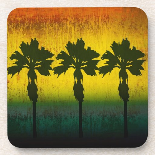 Grunge Rainbow Palm trees Coasters