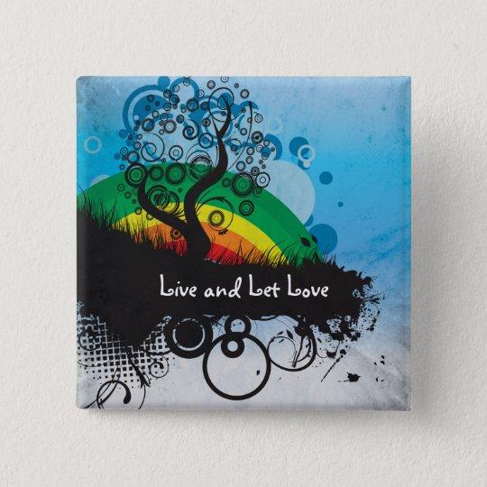 Grunge Rainbow Tree Customisable 15 Cm Square Badge