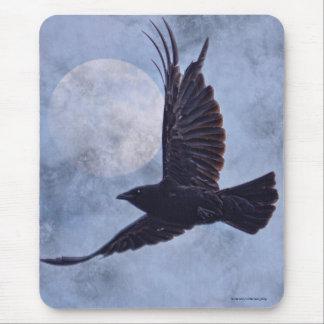 Grunge Raven & Moon Lt Blue Art Design Mouse Mat