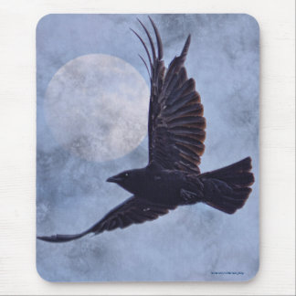 Grunge Raven & Moon Lt Blue Art Design Mouse Pad