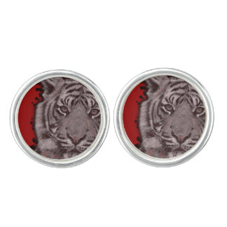 Grunge Red Abstract Tiger Cuff Links