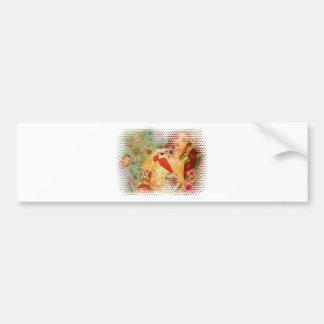 Grunge red bikini girl on floral background bumper sticker