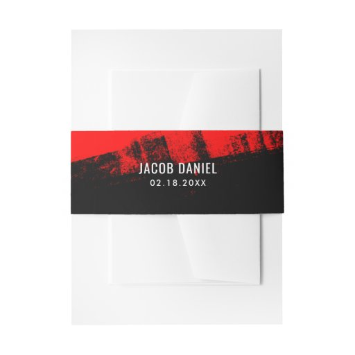 'Grunge Red Black Bar Mitzvah Invitation Belly Band