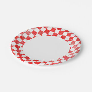Grunge red checkered, abstract background 7 inch paper plate