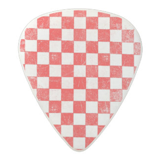 Grunge red checkered, abstract background acetal guitar pick