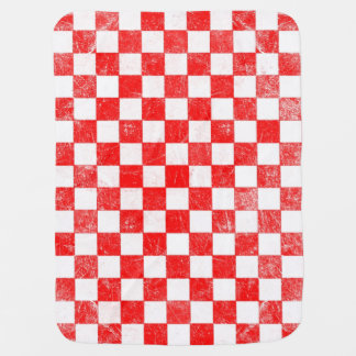 Grunge red checkered, abstract background baby blanket