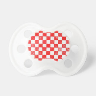 Grunge red checkered, abstract background baby pacifier