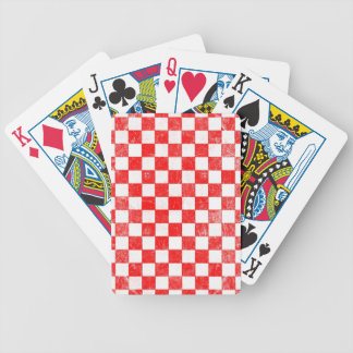 Grunge red checkered, abstract background bicycle playing cards