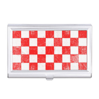 Grunge red checkered, abstract background business card holder