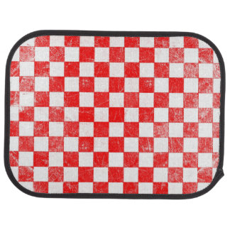 Grunge red checkered, abstract background car mat