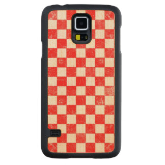 Grunge red checkered, abstract background carved maple galaxy s5 case