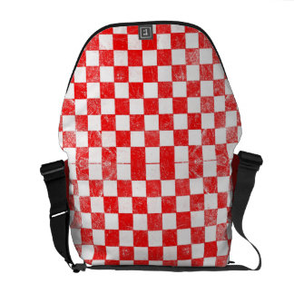 Grunge red checkered, abstract background courier bag