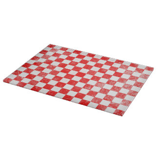 Grunge red checkered, abstract background cutting board