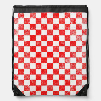 Grunge red checkered, abstract background drawstring bag