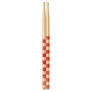 Grunge red checkered, abstract background drumsticks
