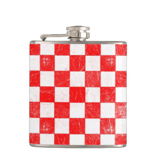 Grunge red checkered, abstract background hip flask