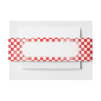 Grunge red checkered, abstract background invitation belly band
