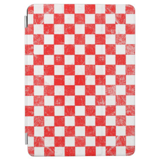 Grunge red checkered, abstract background iPad air cover