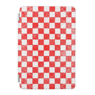 Grunge red checkered, abstract background iPad mini cover
