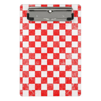Grunge red checkered, abstract background mini clipboard