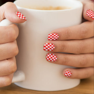 Grunge red checkered, abstract background minx nail art