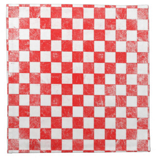 Grunge red checkered, abstract background napkin